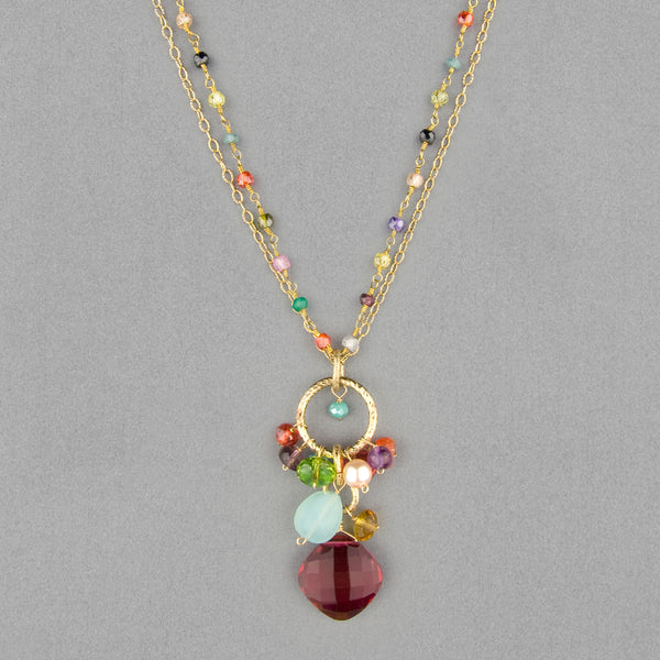 Anna Balkan Necklace: Jeanie Pendant, Gold with Ruby Quartz