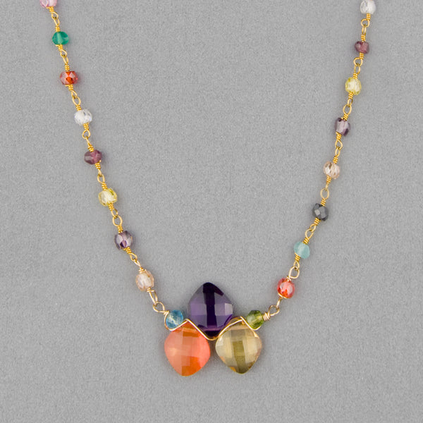 Anna Balkan Necklace: Kate Layering Tri-Gem, Gold with Multigem