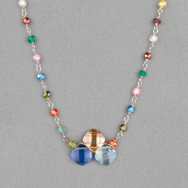 Anna Balkan Necklace: Kate Layering Tri-Gem, Silver with Multigem