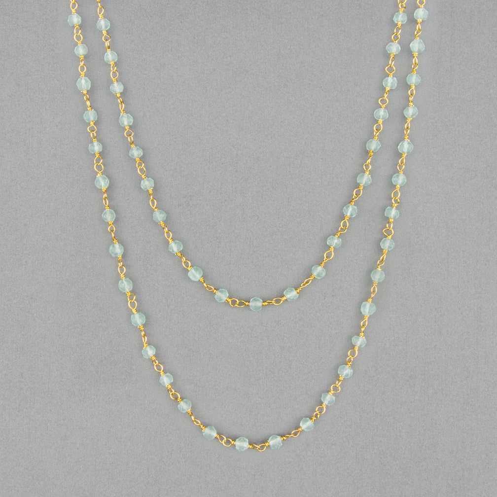 Anna Balkan Necklace: Katie Long Rosary, Gold with Chalcedony