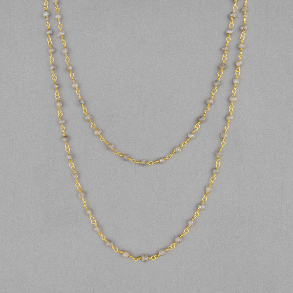 Anna Balkan Necklace: Katie Long Rosary, Gold with Labradorite