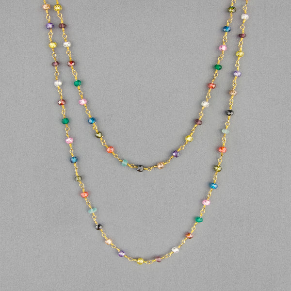Anna Balkan Necklace: Katie Long Rosary, Gold with Multigem