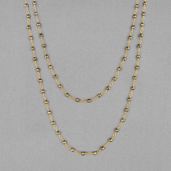 Anna Balkan Necklace: Katie Long Rosary, Gold with Pyrite