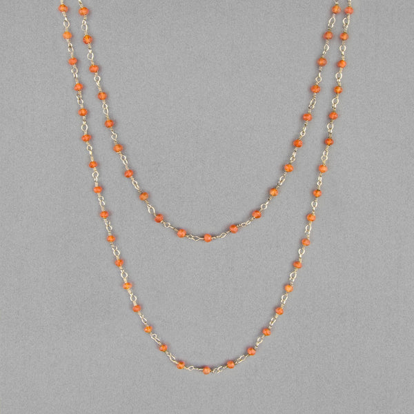Anna Balkan Necklace: Katie Long Rosary, Silver with Carnelian