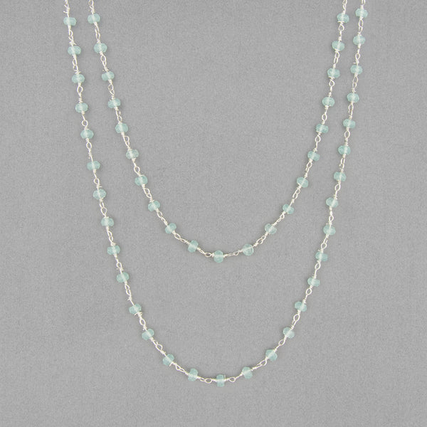 Anna Balkan Necklace: Katie Long Rosary, Silver with Chalcedony