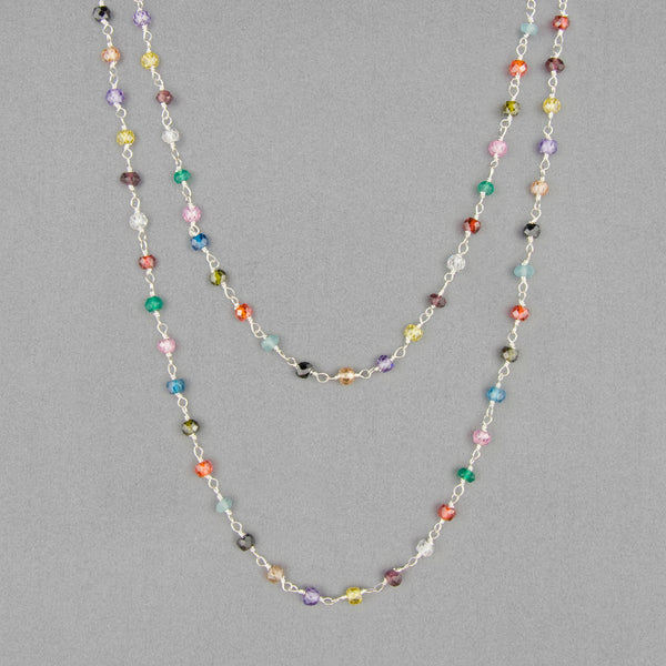Anna Balkan Necklace: Katie Long Rosary, Silver with Multigem