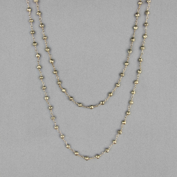 Anna Balkan Necklace: Katie Long Rosary, Silver with Pyrite