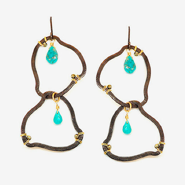 Calliope Jewelry: Earrings: Amoeba-Shaped with Turquoise and Pyrite