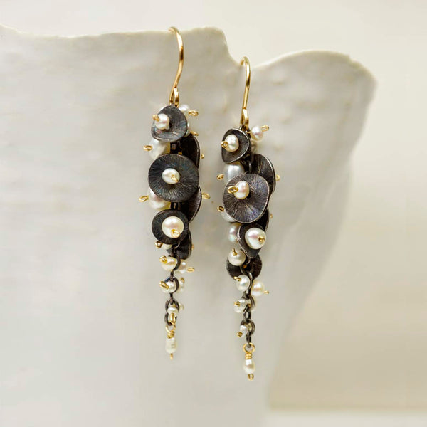 Calliope Jewelry: Earrings: Cascading Pearl Cluster