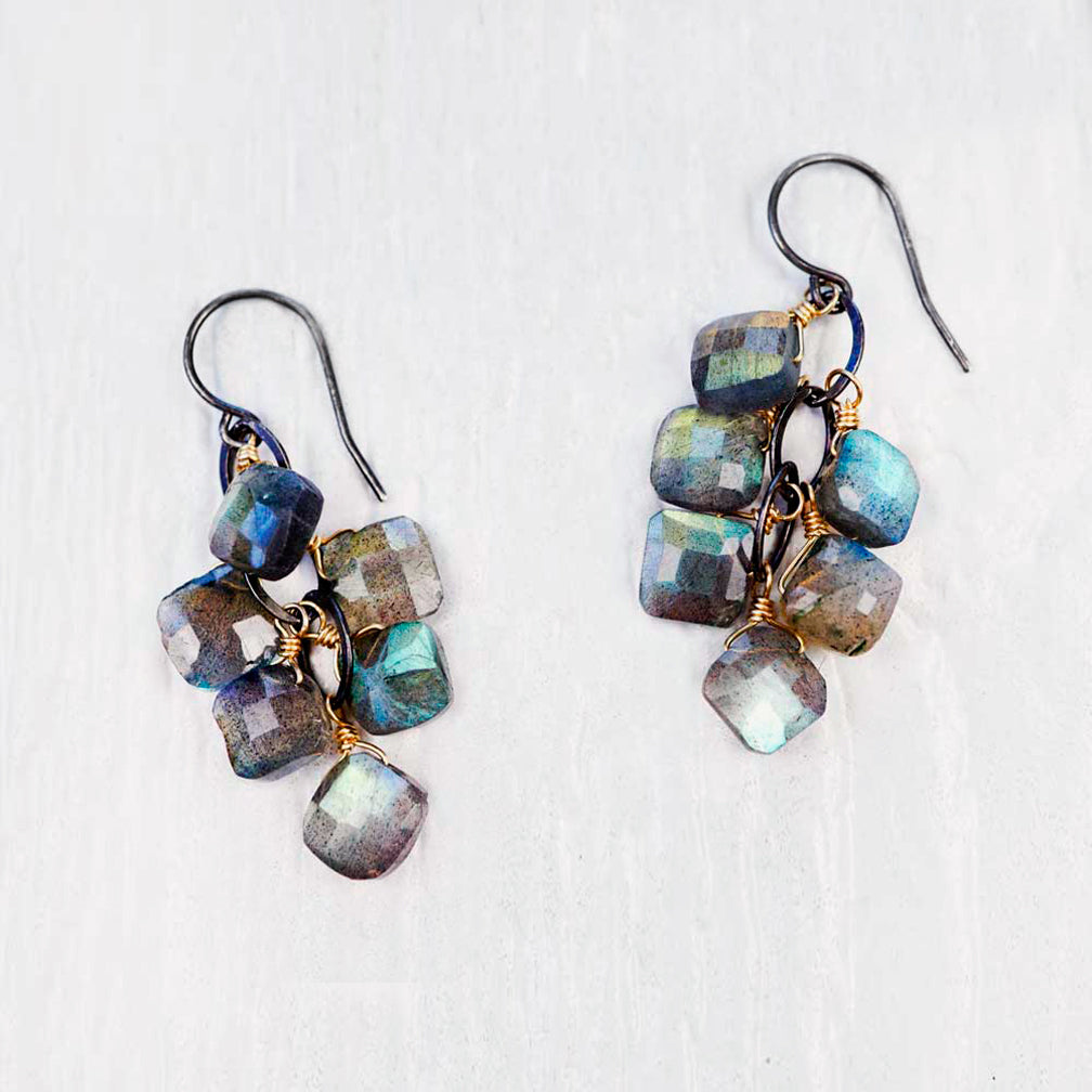 Calliope Jewelry: Earrings: Clusters of Square Labradorite Drops