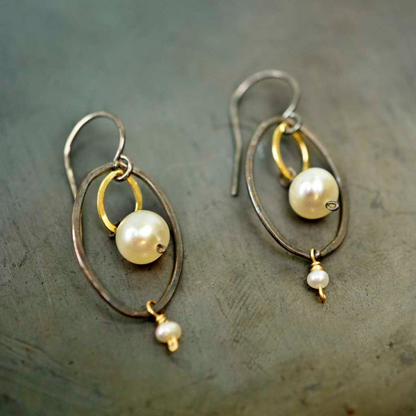 Calliope Jewelry: Earrings: Large Silver Oval with Pearls and Gold Link