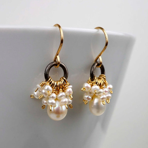 Calliope Jewelry: Earrings: Clusters of Freshwater Pearls