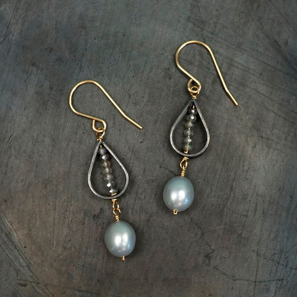 Calliope Jewelry: Earrings: Silver Teardrops with Pearls and Labradorite Beads
