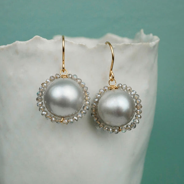Calliope Jewelry: Earrings: Pearls Wrapped with Labradorite Beads