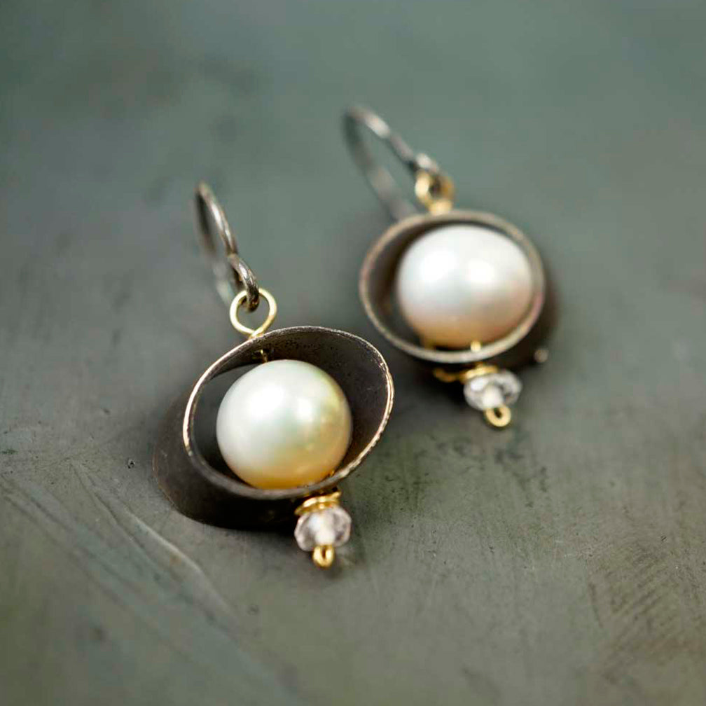 Calliope Jewelry: Earrings: Oxidized Silver with Pearls and Quartz