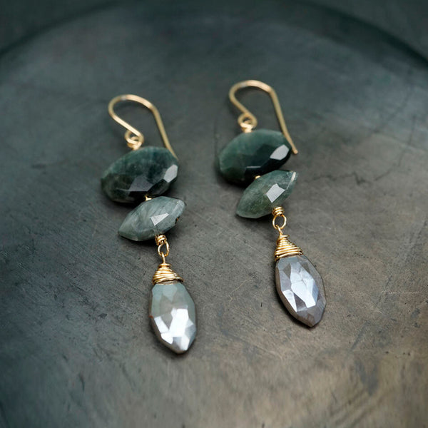 Calliope Jewelry: Earrings: Cat's Eye with Frosted Moonstone Drops
