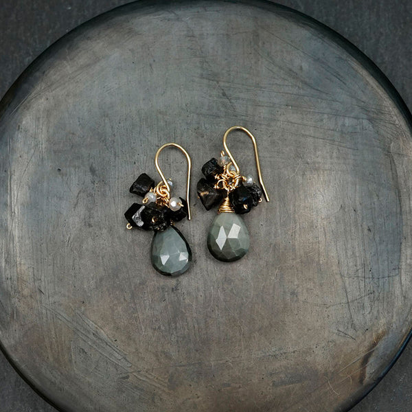 Calliope Jewelry: Earrings: Cat's Eye Drops with Tourmaline Clusters