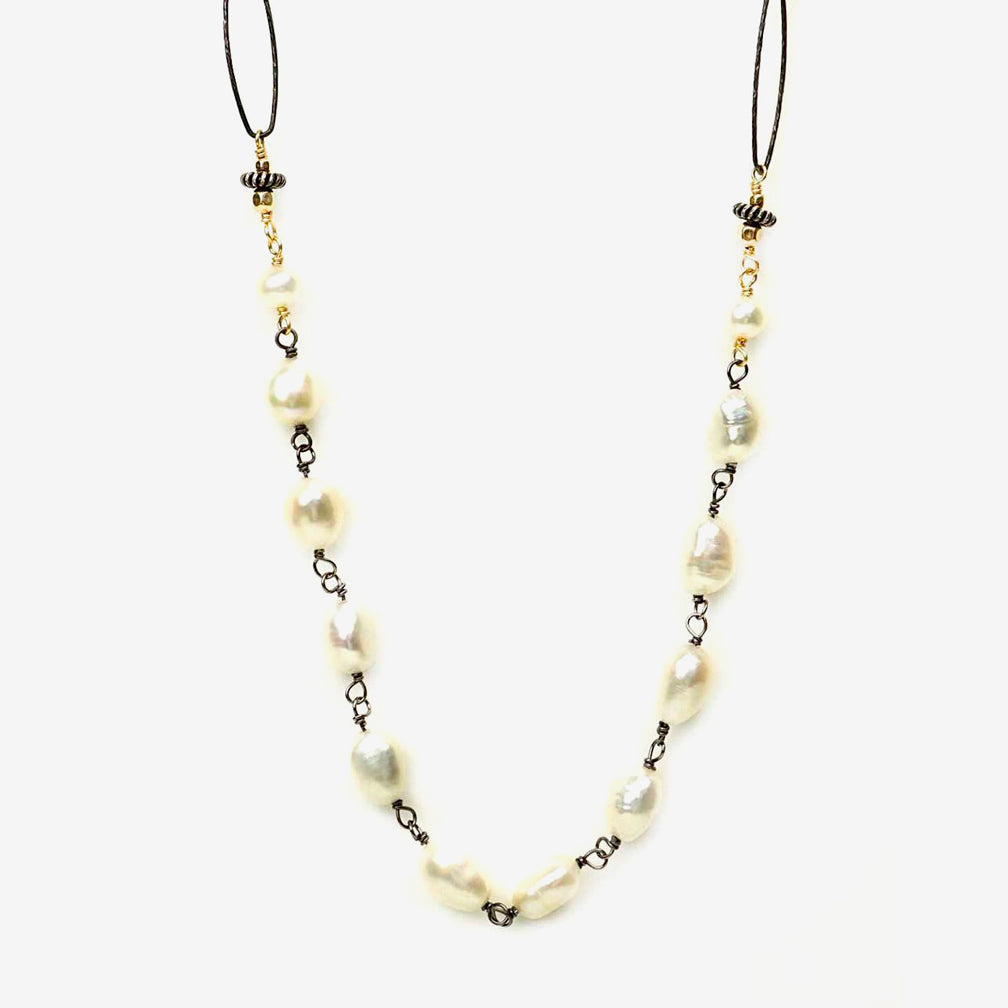 Calliope Jewelry: Necklace: Chunky Pearls on Paperclip Chain