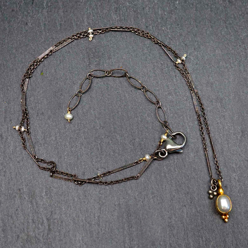 Calliope Jewelry: Necklace: Gold Bezeled Pearl Pendant On a Silver Bar Chain