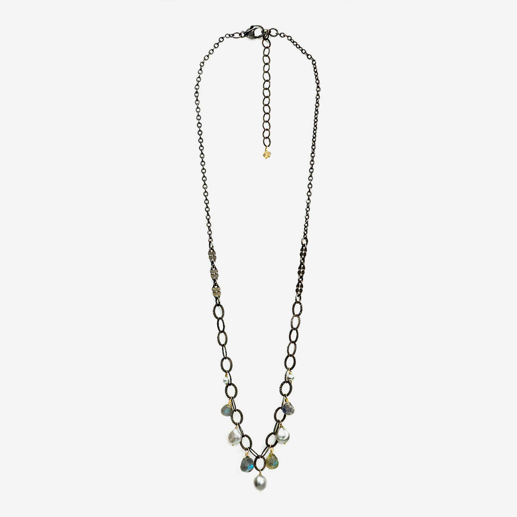 Calliope Jewelry: Necklace: Dotted Oval Chain with Labradorite and Pearl Drops