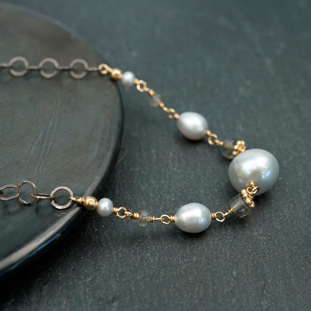Calliope Jewelry: Necklace: Silver Pearls with Labradorite and Gold Accents