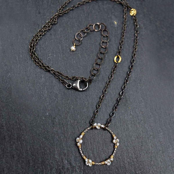 Calliope Jewelry: Necklace: Oxidized Silver Circle with Pearls