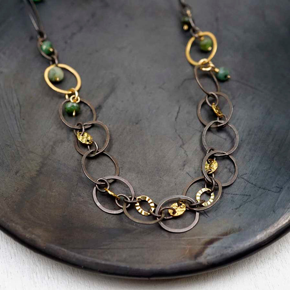 Calliope Jewelry: Necklace: Oval and Circle Links with Pearls and Gold Accents