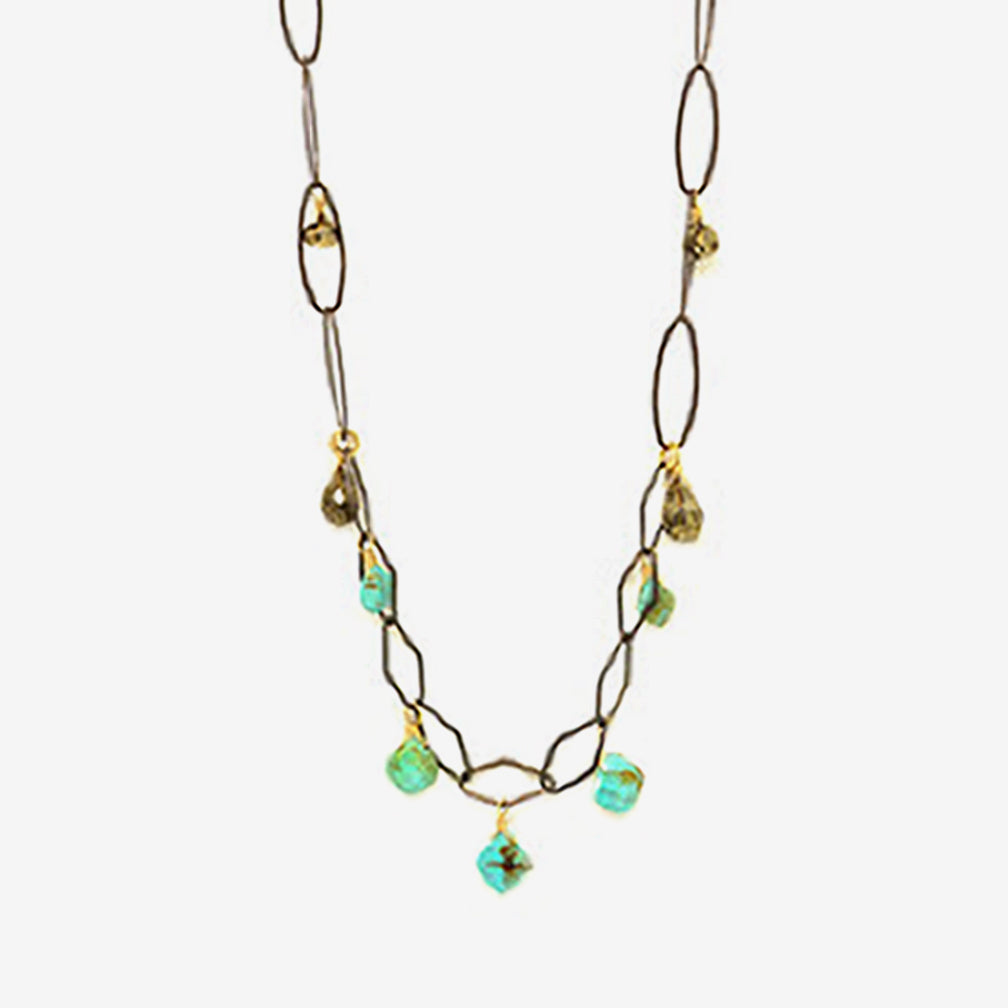 Calliope Jewelry: Necklace: Turquoise and Pyrite Drops