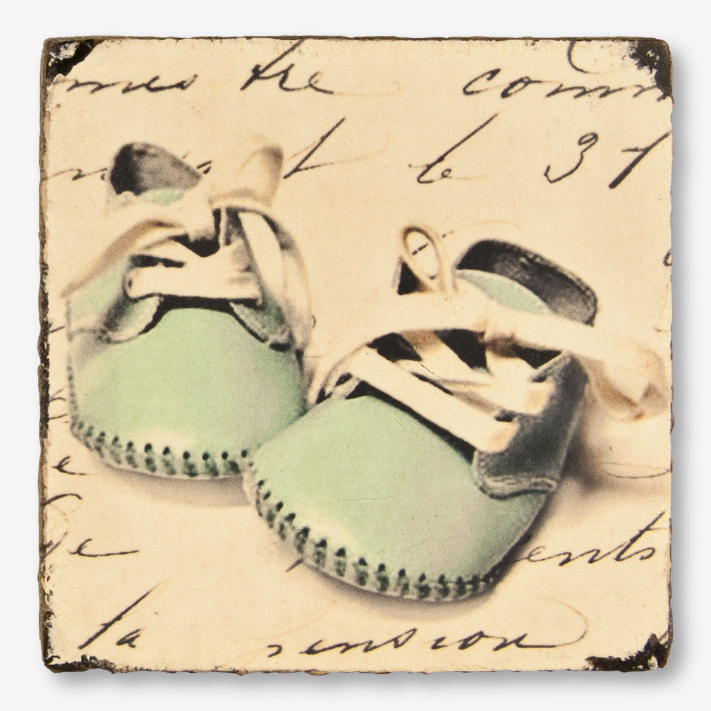 Cedar Mountain Studios: Lost + Found Art Block: Blue Baby Shoes