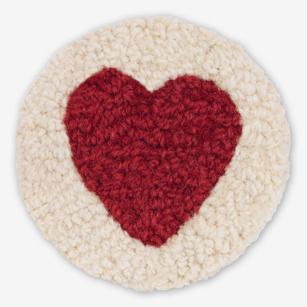 Chandler 4 Corners: Hand-Hooked Wool Coasters: Heart