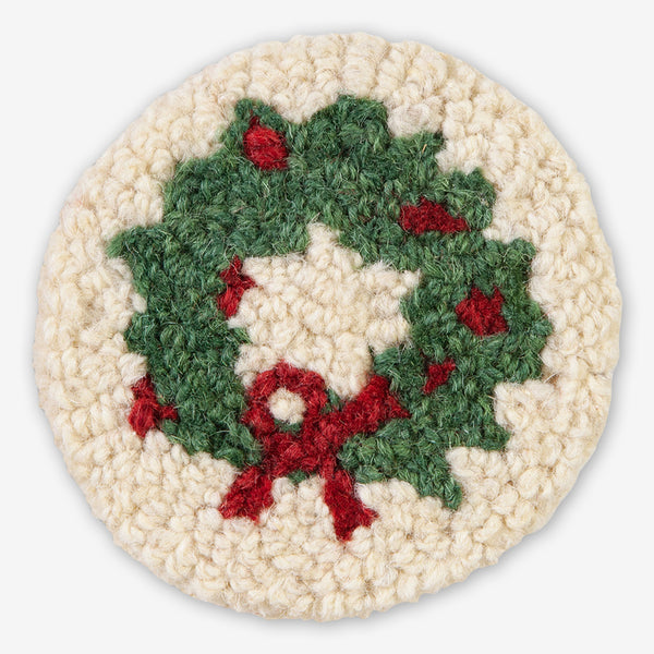 Chandler 4 Corners: Hand-Hooked Wool Coasters: Wreath