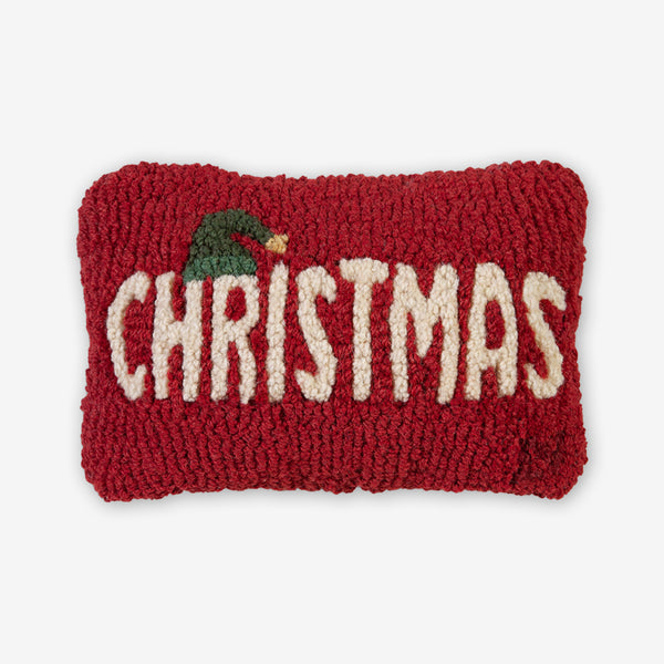 Chandler 4 Corners: Hand-Hooked Wool Pillow: 12x8 Inch Christmas