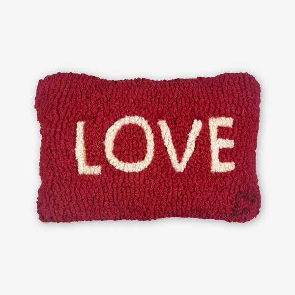 Chandler 4 Corners: Hand-Hooked Wool Pillow: 12x8 Inch Love