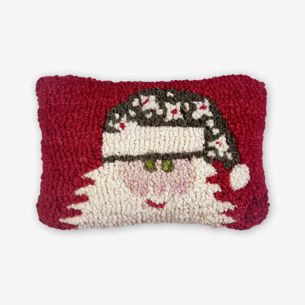 Chandler 4 Corners: Hand-Hooked Wool Pillow: 12x8 Inch Santa with Green Hat