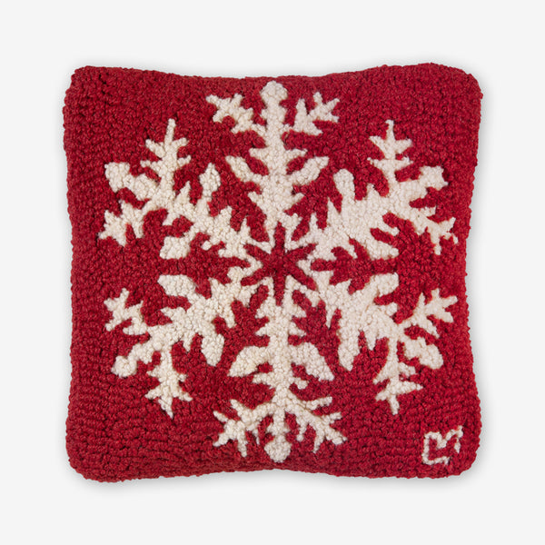 Chandler 4 Corners: Hand-Hooked Wool Pillow: 14x14 Inch Classic Snowflake on Red