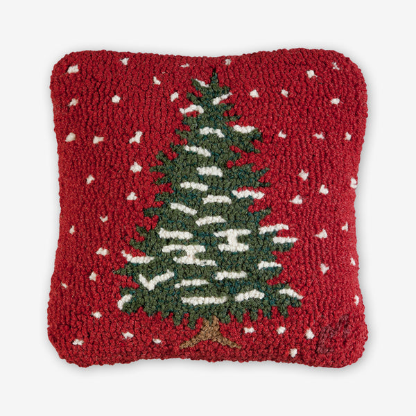 Chandler 4 Corners: Hand-Hooked Wool Pillow: 14x14 Inch Simple Christmas Tree