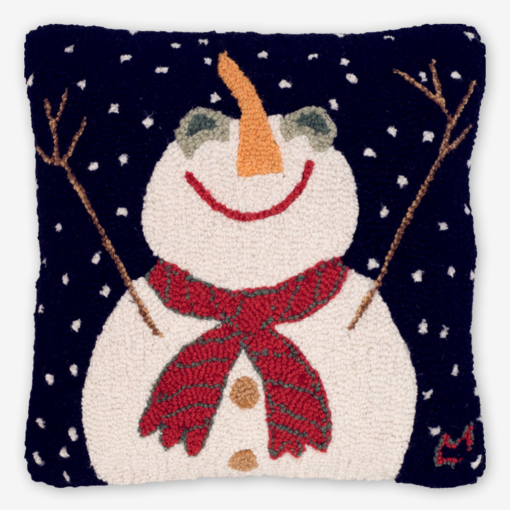 Chandler 4 Corners: Hand-Hooked Wool Pillow: 18x18 Inch Let It Snow-man!