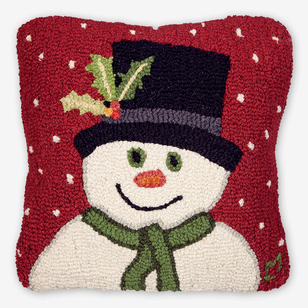 Chandler 4 Corners: Hand-Hooked Wool Pillow: 18x18 Inch Snowman with Top Hat
