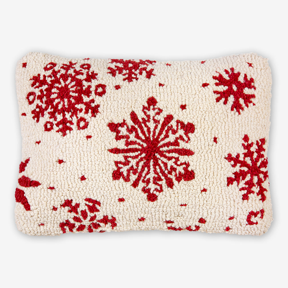 Chandler 4 Corners: Hand-Hooked Wool Pillow: 20x14 Inch Frosty Flakes
