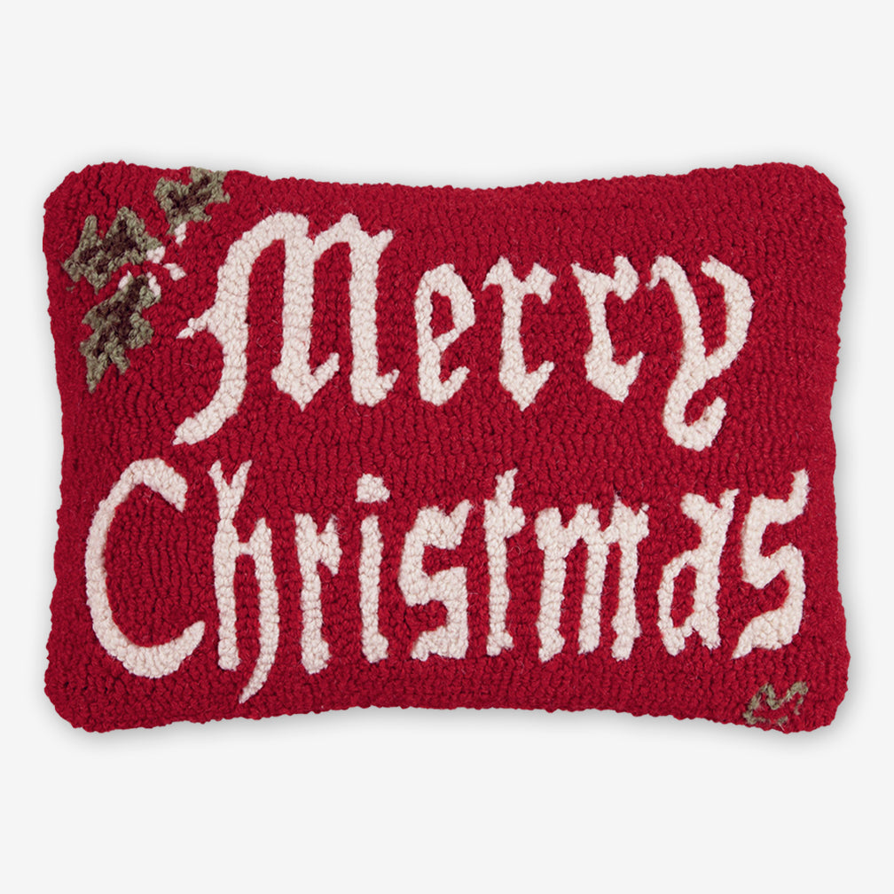 Chandler 4 Corners: Hand-Hooked Wool Pillow: 20x14 Inch Merry Christmas