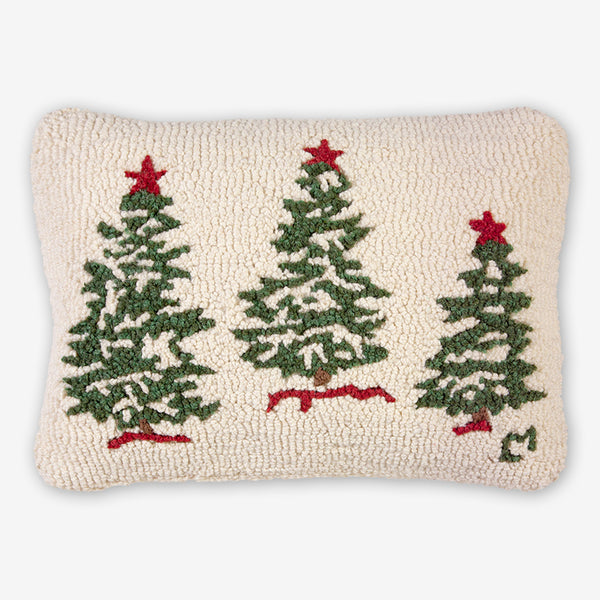 Chandler 4 Corners: Hand-Hooked Wool Pillow: 20x14 Inch Three Christmas Trees