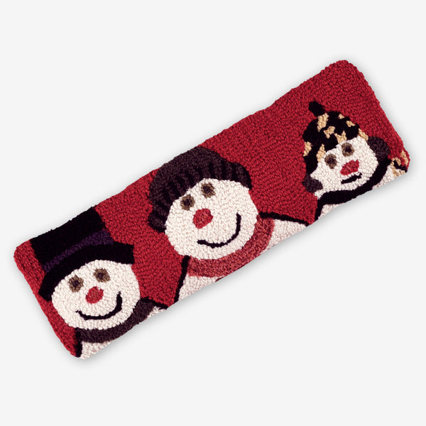 Chandler 4 Corners: Hand-Hooked Wool Pillow: 24x8 Inch Snowman Family