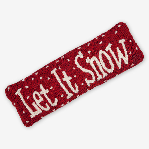Chandler 4 Corners: Hand-Hooked Wool Pillow: 24x8 Inch Let It Snow