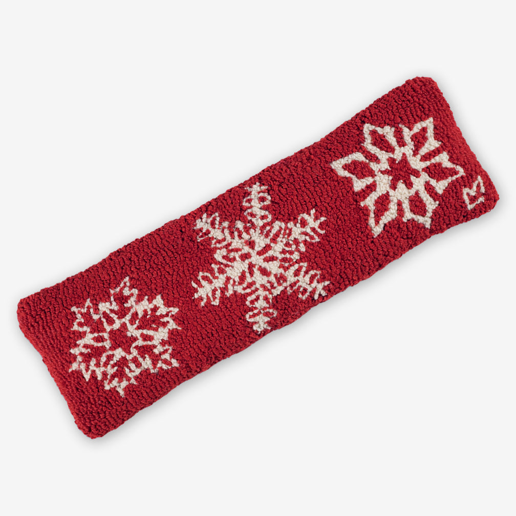 Chandler 4 Corners: Hand-Hooked Wool Pillow: 24x8 Inch Three Snowflakes on Red