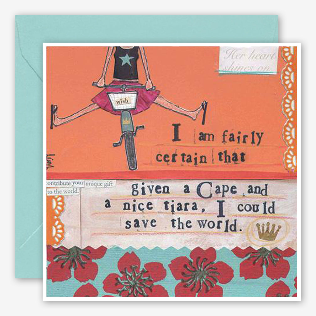 Curly Girl Design: Encouragement Card: Cape & Tiara