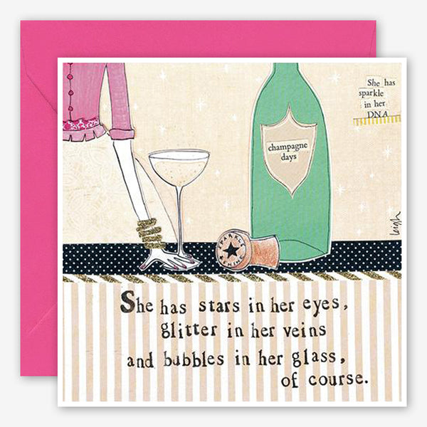 Curly Girl Design: Friendship Card: Bubbles In Her Glass