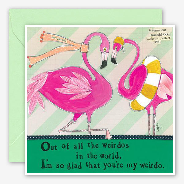 Curly Girl Design: Love Card: Flamingo