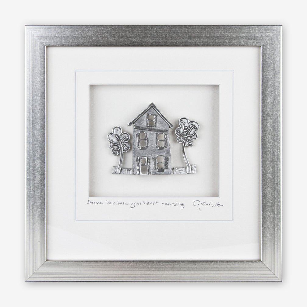 Cynthia Webb Designs: Framed Pewter: Cottage with Oak Trees