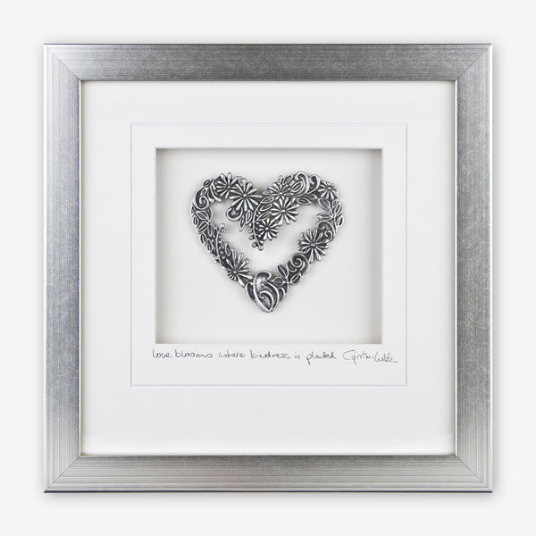 Cynthia Webb Designs: Framed Pewter: Flower Heart