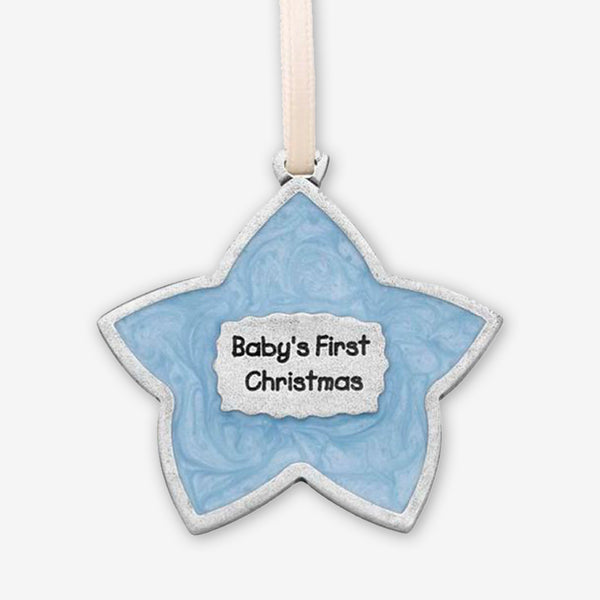 Danforth Pewter: Pewter Ornaments: Baby's First Christmas: Blue